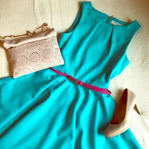 Turquoise A-line Skater Belted Dress